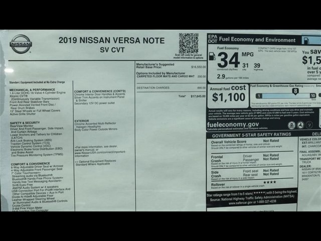 New 2019 Nissan Versa Note SV